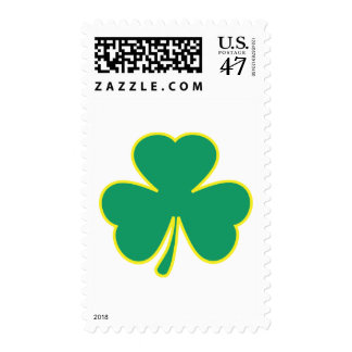 trébol amarillo verde timbre postal