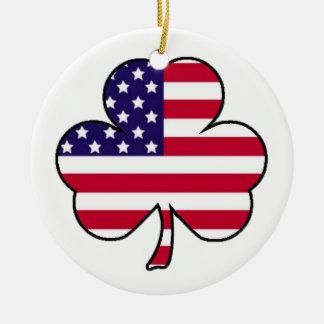 Trébol americano adorno navideño redondo de cerámica