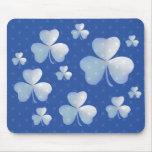 Trébol azul con las estrellas - mousepad tapete de raton