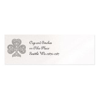 Trébol blanco y negro tarjetas de visita mini