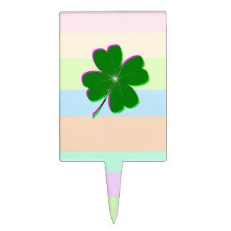 Trébol bonito 4-Leaf en rayas en colores pastel Decoración Para Tarta