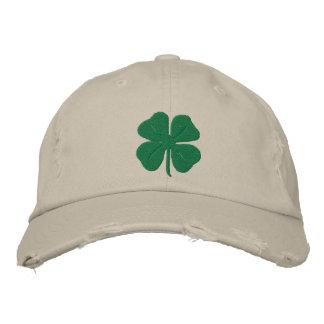Trébol bordado de la hoja del irlandés cuatro gorra de beisbol bordada