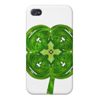 Trébol brillante de la hoja del arte cuatro del fr iPhone 4 cárcasa