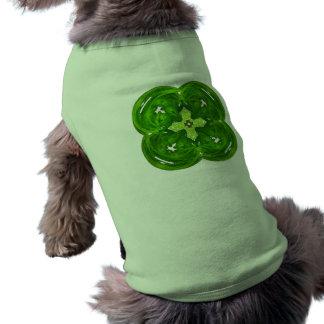 Trébol brillante de la hoja del arte cuatro del fr camiseta de mascota