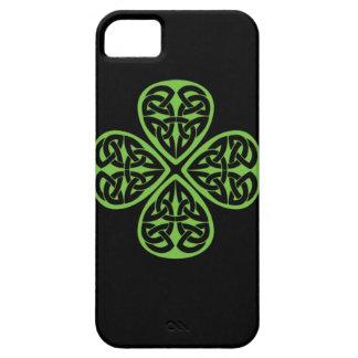 Trébol céltico afortunado iphone4 de la hoja del iPhone 5 funda