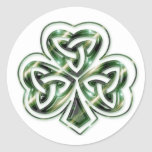 Trébol céltico:: Pegatinas verdes del diseño de Etiqueta Redonda