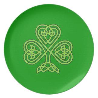 Trébol céltico platos para fiestas