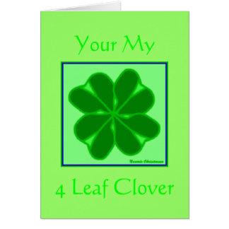 Trébol de 4 hojas tarjeta de felicitación