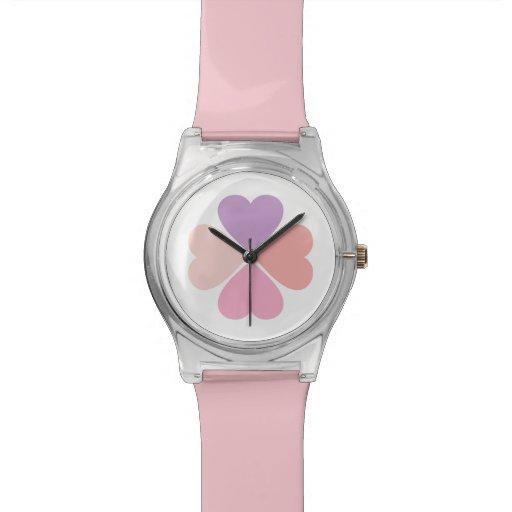Trebol de amor de corazones de día de San Valentín Relojes De Mano