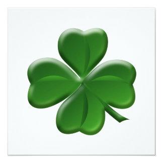 """Trébol de cuatro hojas - botón del día de St Invitación 5.25"""" X 5.25"""""""
