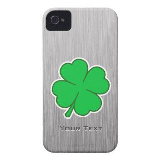 Trébol de cuatro hojas; metal-mirada iPhone 4 coberturas