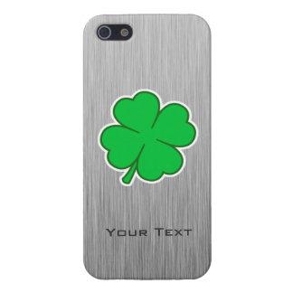 Trébol de cuatro hojas; metal-mirada iPhone 5 protector