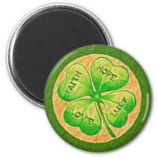 Trébol de cuatro hojas - suerte del amor de la esp imán redondo 5 cm