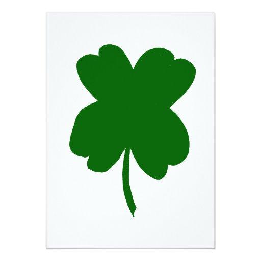 Trébol de cuatro hojas, trébol verde, el día de St Invitación 12,7 X 17,8 Cm