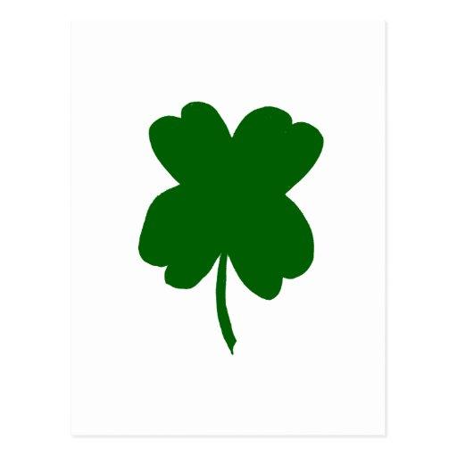 Trébol de cuatro hojas, trébol verde, el día de St Postal
