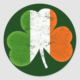 Trébol de la bandera de Irlanda Etiqueta Redonda