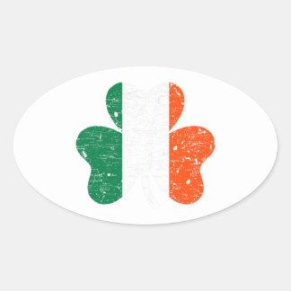 Trébol de la bandera de Irlanda Calcomania De Oval Personalizadas