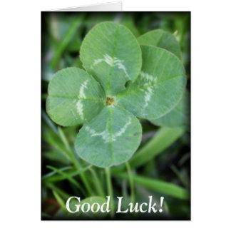 Trébol de la hoja de la buena suerte cuatro tarjeta de felicitación