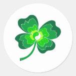 Trébol de la hoja de Yin Yang cuatro Etiqueta