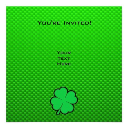 Trébol de la hoja del verde cuatro invitacion personalizada