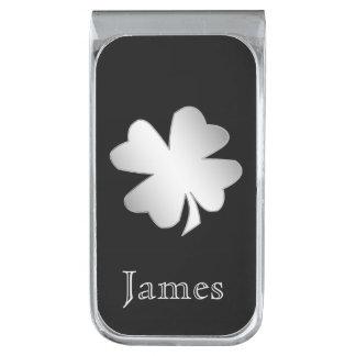 Trébol de plata en el negro personalizado clip para billetes plateado