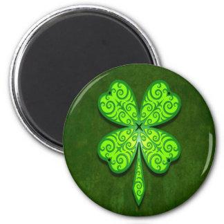 Trébol decorativo de cuatro hojas imán redondo 5 cm
