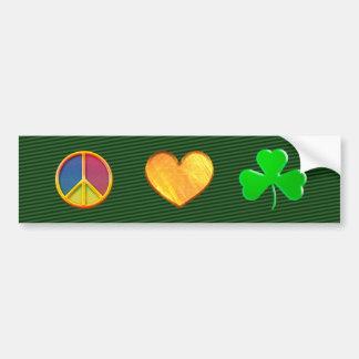 Trébol del amor de la paz - pegatina para el parac pegatina para auto