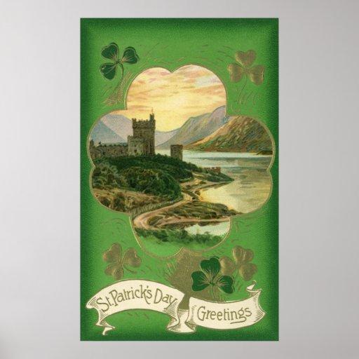 Trébol del castillo de los saludos del día del St. Posters