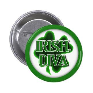 Trébol del día de St Patrick IRLANDÉS de la DIVA Pin Redondo De 2 Pulgadas