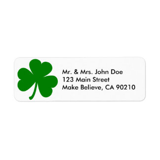 Trébol del día de St Patrick verde afortunado Etiquetas De Remite