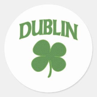 Trébol del irlandés de Dublín Pegatina Redonda