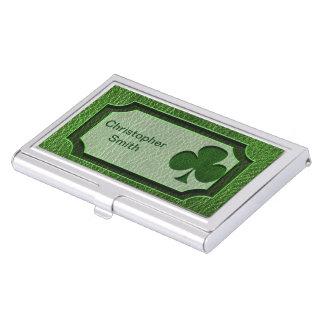 Trébol del irlandés de la Cuero-Mirada Caja De Tarjetas De Negocios