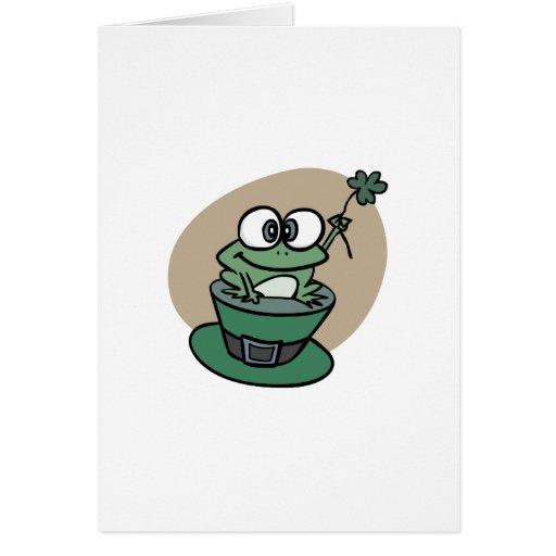 Trébol del n de la rana del día del St. Patricks Tarjeta De Felicitación