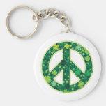 Trébol del símbolo de paz llavero personalizado