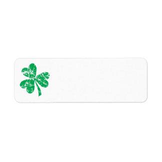 Trébol del verde del día de St Patrick Etiqueta De Remite
