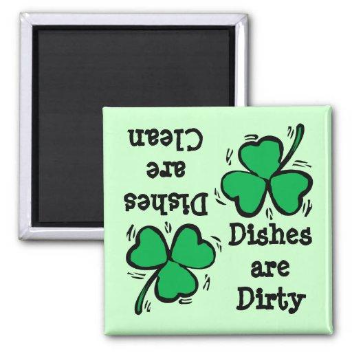 Trébol Diswasher sucio limpio del día de St Patric Imanes