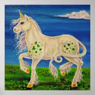 Trébol el unicornio irlandés póster