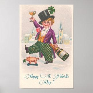 Trébol feliz Champán del día del St Patricks del Póster