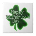 Trébol feliz del día del St. Patricks Tejas Cerámicas