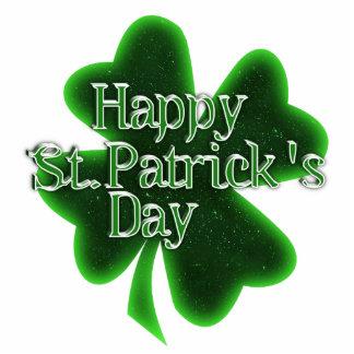Trébol feliz del día del St. Patricks Fotoescultura Vertical