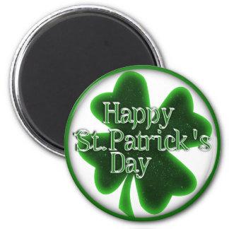 Trébol feliz del día del St. Patricks Imán Redondo 5 Cm