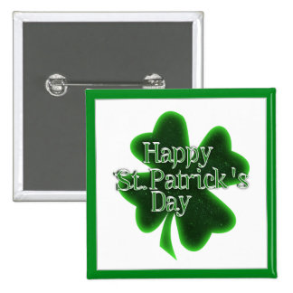 Trébol feliz del día del St. Patricks Pin Cuadrado