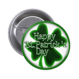 Trébol feliz del día del St. Patricks Pin Redondo De 2 Pulgadas