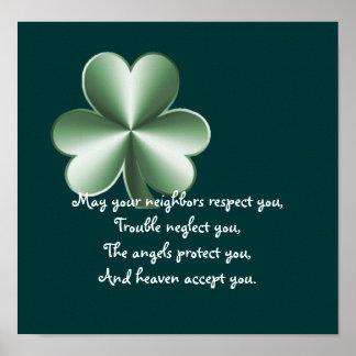 Trébol - impresión irlandesa del proverbio póster