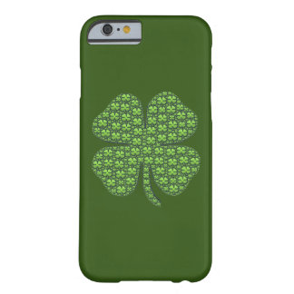 Trébol irlandés afortunado verde oscuro funda de iPhone 6 barely there