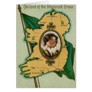 Trébol irlandés de Irlanda de la bandera Tarjeta De Felicitación