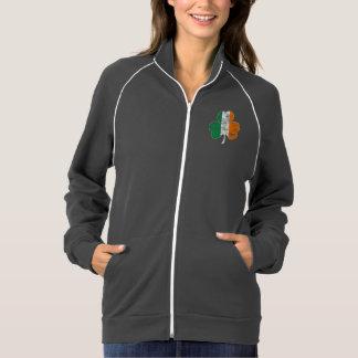 Trébol irlandés de la bandera apenado sudadera american apparel de forro polar con crema