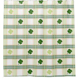 Trébol irlandés de la tela escocesa cortina de baño