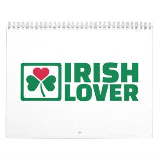 Trébol irlandés del amante calendario de pared