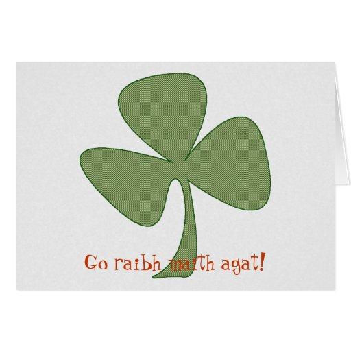 Trébol irlandés del verde y del oro tarjeta pequeña